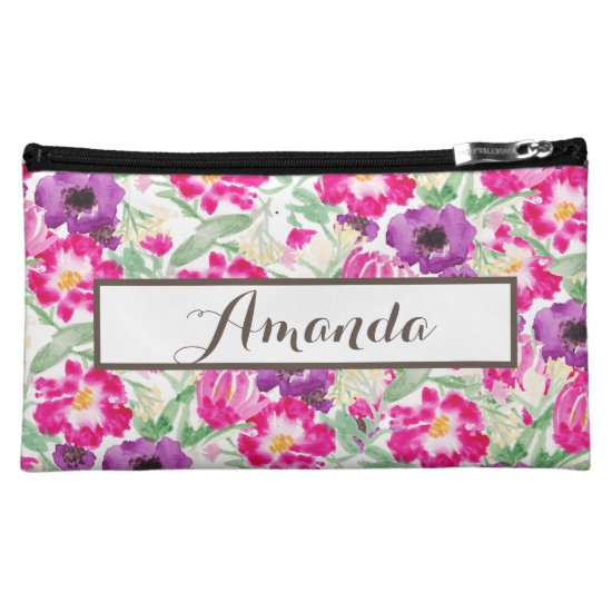 Custom Watercolor Flowers Name Wristlet