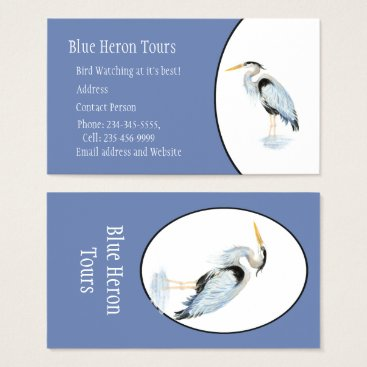 Professional Business Custom Watercolor Great Blue Heron Bird Business Card