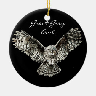Custom Watercolor Great Grey Owl Bird, Animal Double-Sided Ceramic Round Christmas Ornament
