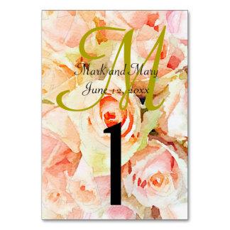 Custom Watercolor Monogram Peach Roses Card