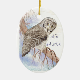 Custom Watercolor Owl Dated Let Go and Let God Ornaments