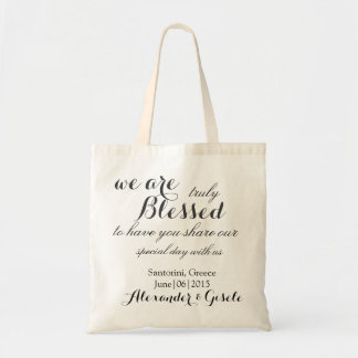 Custom We are BLESSED Wedding Tote Bag