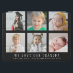 "Custom We Love Our Grandpa Black Photo Collage iPad Air Cover<br><div class=""desc"">A special gift for Grandpa this Father's Day or great for a Birthday or just because. This custom iPad Air Cover features a six photo collage for pictures of the grandkids and "" We Love Grandpa"" with photos of the grandchildren. Black background with a modern gray typography. This template has...</div>"