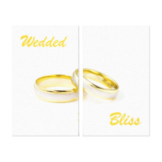 Custom Wedded Bliss Rings Wrapped Canvas