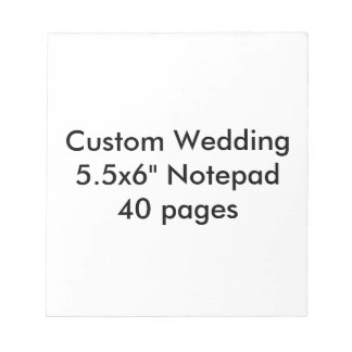 """Custom Wedding 5.5x6"""" Notepad   40 pages"""
