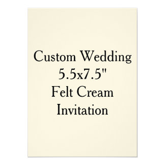 "Custom Wedding  5.5x7.5""  Felt Cream Invitation"