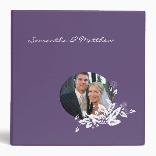 Custom Wedding Album Binder Purple Floral Frame