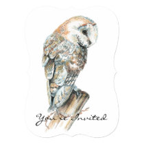 Custom Wedding Anniversary Barn Owl Art Card