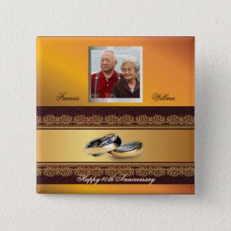 Custom Wedding Anniversary Gold Button