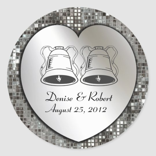 Custom Wedding Bells On Heart & Sequins Sticker
