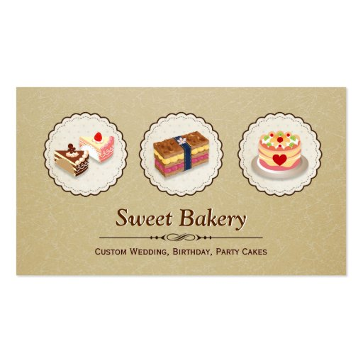 Custom Wedding Birthday Party Cakes Pastry Bakery Business Card Template (front side)