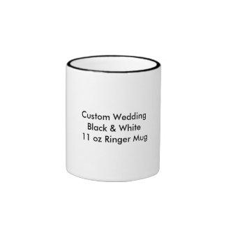 Custom Wedding Black & White  11 oz Ringer Mug