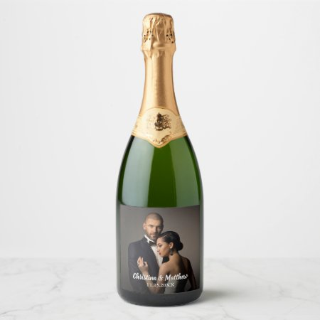 Custom Wedding Bride and Groom's Photo Champagne Label