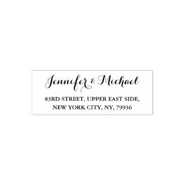 iCoolCreate Custom Wedding Bride Groom Name Return Address Self-inking Stamp