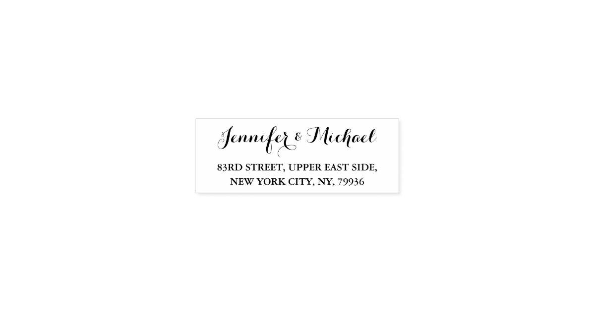 Custom Wedding Bride Groom Name Return Address Self Inking Stamp Zazzle