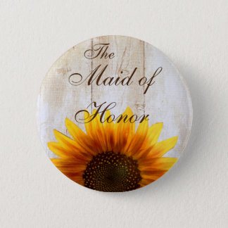 Custom Wedding Button Country Sunflower Maid Honor