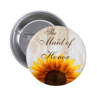 Custom Wedding Button Country Sunflower Maid Honor