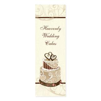 Custom Wedding Cake Modern Dot Stripe Swirls Double-Sided Mini Business Cards (Pack Of 20)