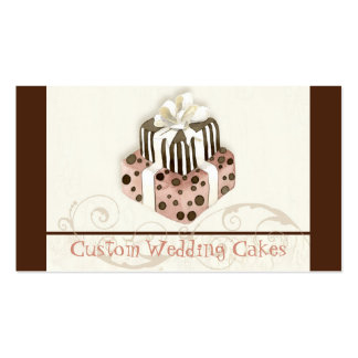 Custom Wedding Cake Modern Dot Stripe Swirls Double-Sided Standard Business Cards (Pack Of 100)