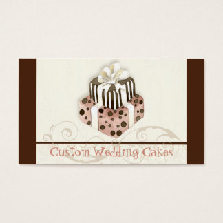 Custom Wedding Cake Modern Dot Stripe Swirls Business Card