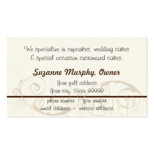 Custom Wedding Cake Modern Dot Stripe Swirls Business Card (back side)