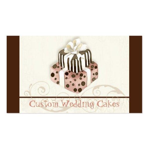 Custom Wedding Cake Modern Dot Stripe Swirls Business Card (front side)