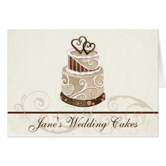 Custom Wedding Cake Modern Dot Stripe Swirls Card
