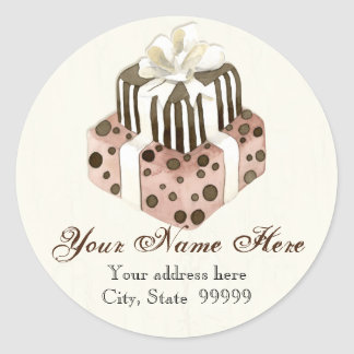 Custom Wedding Cake Modern Dot Stripe Swirls Classic Round Sticker