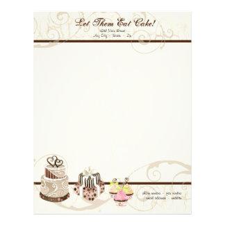 Custom Wedding Cake Modern Dot Stripe Swirls Letterhead