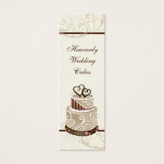 Custom Wedding Cake Modern Dot Stripe Swirls Mini Business Card