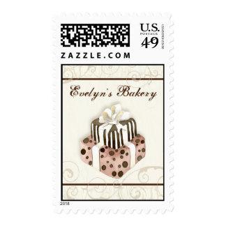 Custom Wedding Cake Modern Dot Stripe Swirls Stamp