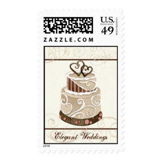 Custom Wedding Cake Modern Dot Stripe Swirls Postage