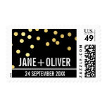 CUSTOM WEDDING cute plain gold confetti bold black Postage Stamp