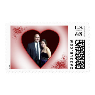 Custom Wedding design with photo and red heart Postage