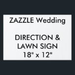 """Custom Wedding Direction &amp; Lawn Sign 18&quot; x 12&quot;<br><div class=""""desc"""">Custom Directions &amp; Lawn Sign 18&quot; x 12&quot;, lightweight corrugated plastic construction (4mm thick), perfect for posting directions at road junctions and for signing the wedding venue. Stick in grass or soil with optional &quot;H&quot; frame. Photos, designs or text printed in brilliant full color. Weather and stain resistant, your message...</div>"""