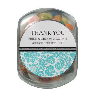 Custom Wedding Favor Candy Jar Aqua Damask Glass Candy Jar