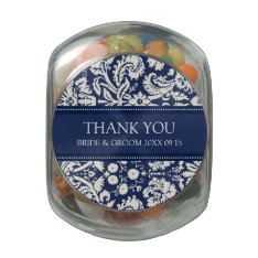 Custom Wedding Favor Candy Jar Blue Damask Glass Jars at Zazzle