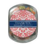 Custom Wedding Favor Candy Jar Coral Blue Damask Glass Jar at Zazzle