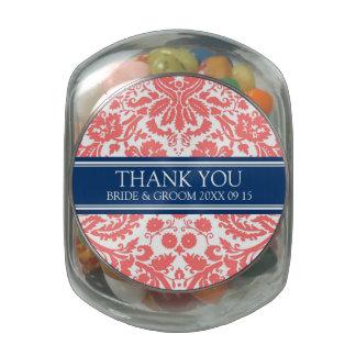 Custom Wedding Favor Candy Jar Coral Blue Damask Glass Candy Jars