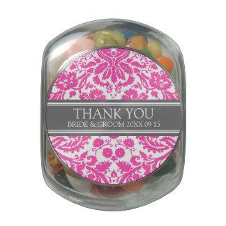 Custom Wedding Favor Candy Jar Fuchsia Damask Jelly Belly Candy Jar