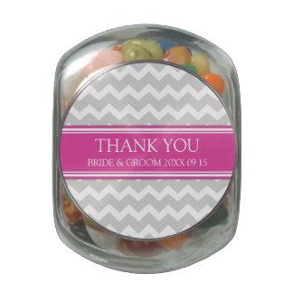 Custom Wedding Favor Candy Jar Grey Pink Glass Jars