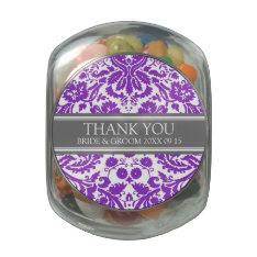Custom Wedding Favor Candy Jar Purple Damask Glass Candy Jars at Zazzle