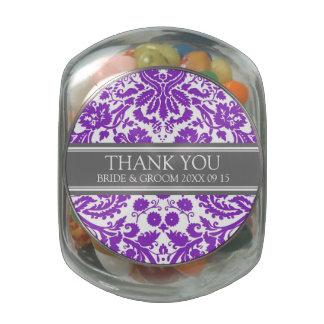 Custom Wedding Favor Candy Jar Purple Damask Glass Candy Jars