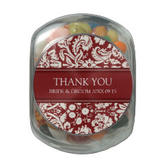 Custom Wedding Favor Candy Jar Red Damask Glass Jar at Zazzle