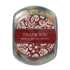 Custom Wedding Favor Candy Jar Red Damask Glass Jar at Zazzle