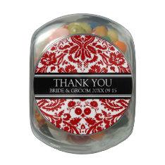Custom Wedding Favor Candy Jar Red Damask Jelly Belly Candy Jar at Zazzle
