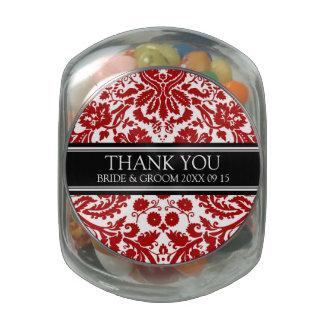 Custom Wedding Favor Candy Jar Red Damask Jelly Belly Candy Jar