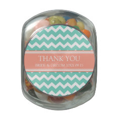 Custom Wedding Favor Candy Jar Teal Coral Jelly Belly Candy Jar at Zazzle