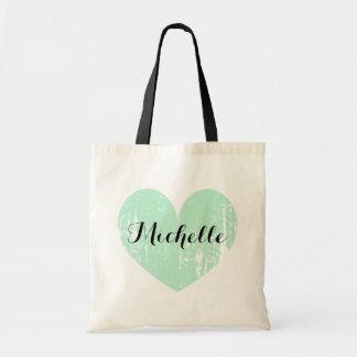 Custom wedding favor tote bag with vintage heart budget tote bag