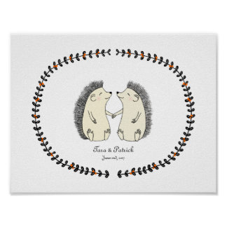 Custom Wedding Gift for Couple Cute Hedgehog Print